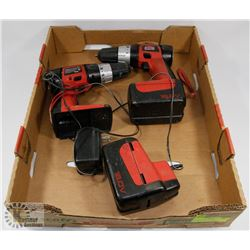 SET OF 2 JOBMATE DRILLS, 2 BATTERIES AND CHARGER