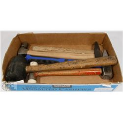 FLAT OF VARIOUS MALLETS, HAMMERS