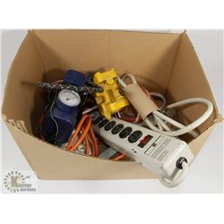 BOX OF ELECTRICAL CORDS, POWER BARS AND MORE