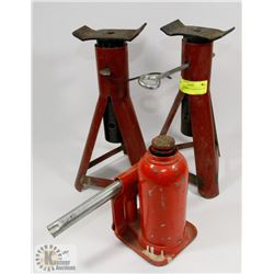 GROUP OF BOTTLE JACKS AND CAR STANDS