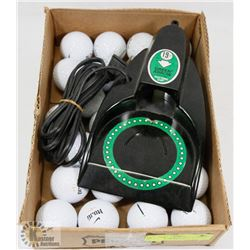 GREEN ARROW ELECTRIC PUTTING CUP & FLAT OF BALLS