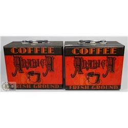 LOT OF 2 ARABICA COFFEE BOXES WITH HANDLES