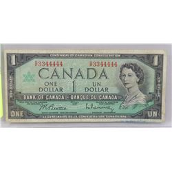 CANADIAN $1 BILLS 1967 POKER HAND SERIAL NUMBERS.