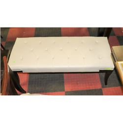 WHITE LEATHERETTE BENCH