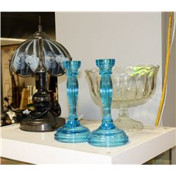 GLASS FRUIT BOWL WITH 2 BLUE GLASS CANDLE HOLDERS
