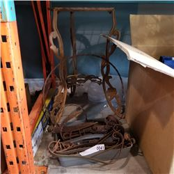 TRAY OF HAND FORGED HARDWARE AND LARGE WROUGHT-IRON PLANT STAND