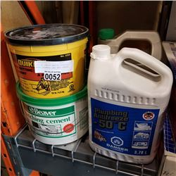 LOT OF CEMENT MAKING SUPPLIES, WOOD CLEANER, AND ANTI FREEZE