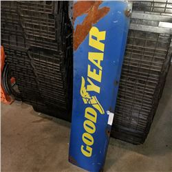 BLUE AND YELLOW METAL GOOD YEAR SIGN DOUBLE SIDED