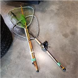 2 FISHING RODS W/ REELS AND 2 FISHING NETS