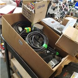 BOX OF EXTENSION CORDS AND ELECTRICAL BOXES
