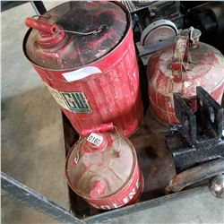 3 ANTIQUE RED METAL GAS CANS