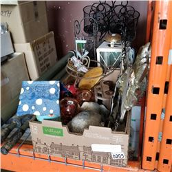 2 BOXES OF GARDEN DECOR, WIND CHIMES, CANDLE HOLDERS, AND MORE