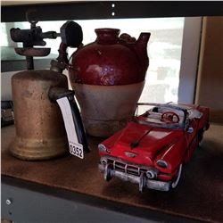 ANTIQUE BLOW TORCH POTTERY VASE AND METAL CAR