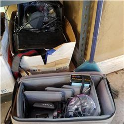 BOX OF VINTAGE CAMERAS, GEAR, AND TRANSISTOR RADIOS