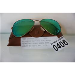 AUTHENTIC RAY BAN SUNGLASSES POLARIZED LENSE MODEL 3025 112/9P W/ CASE AND CLOTH - RETAIL $258