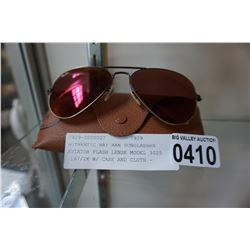 AUTHENTIC RAY BAN SUNGLASSES AVIATOR FLASH LENSE MODEL 3025 167/2K W/ CASE AND CLOTH - RETAIL $223