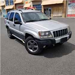 2004 JEEP GRAND CHEROKEE LAREDO, 4 DOOR HATCH BACK 4 LITRE AUTOMATIC, 272430KM, NEW ROTOR + PADS ON