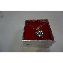 NEW IN BOX GUESS SILVER NECKLACE W/ HEART PENDANT AND STONES