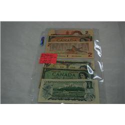 6 CANADIAN BILLS 2 1986 $2, 1 1954 $2, 2 1973 $1, 1 1954 $1