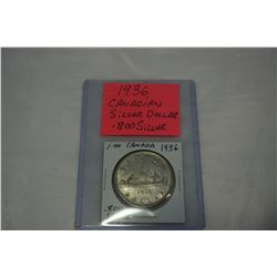 1936 CANADIAN SILVER DOLLAR .800 SILVER