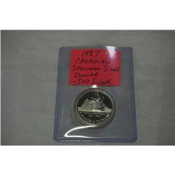 1987 CANADIAN SPECIMEN SILVER DOLLAR .500 SILVER