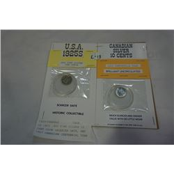 US 1925 .900 FINE SILVER 10 CENT COIN -SCARCER DATE, AND 1967 CANADIAN CENTENNIAL YEAR SILVER 10 CEN