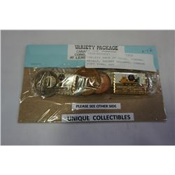 VARIETY PACK OF COINS, TOKENS, MEDALS, HOCKEY DOLLARS, CANADA POST PINS, ETC