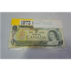 1973 CANADIAN 1 DOLLAR BANKNOTE - UNCIRCULATED