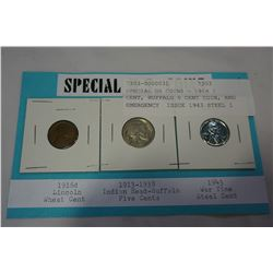 SPECIAL US COINS - 1916 1 CENT, BUFFALO 5 CENT COIN, AND EMERGENCY ISSUE 1943 STEEL 1 CENT THAT IS M