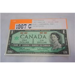 1967 CANADIAN 1 DOLLAR BANK NOTE - CENTENNIAL YEAR UNCIRCULATED