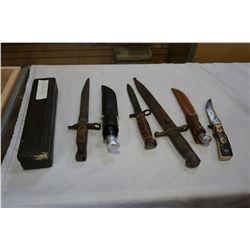 LOT OF 3 BAYONETS AND 3 BUCK KNIVES AND SHARPENING STONE