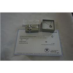 STERLING SILVER DIAMOND PENDANT W/ CHAIN, 24 DIAMONDS/ 0.08CTS W/ APPRAISAL $350