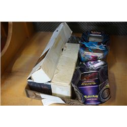 3 BOXES OF LEGEND OF THE 5 RINGS CARDS, 2 TINS OF POKEMON CARDS AND MAGIC THE GATHERING AND DIGIMON