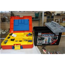 BOX OF MAGNETIX BUILDING TOY AND CASE OF MECCANO BUILDING TOY