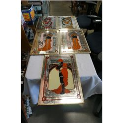 5 MIRRORED ART DECO PRINTS