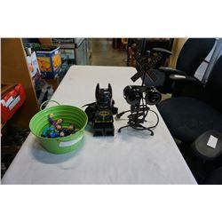 DICK TRACY FIGURES, LEGO BATMAN CLOCK, AND RAIL ROAD CROSSING LIGHT