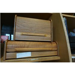 2 WOODEN ROLL-POP STORAGE UNITS