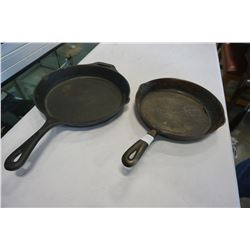 "WAGNER AND OTHER 10 TO 12"" CAST IRON FRYING PANS"