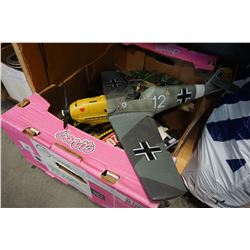 LOT OF RC CARS AND 2 GERMAN MODEL PLANES AND STAR WARS PLANE