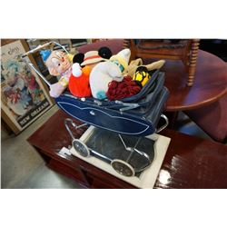 DOLL PRAM, DOLLS, STUFFIES AND CHALKBOARD