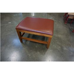 LEATHER AND WOOD FOOT STOOL