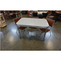MID CENTURY MODERN DINING TABLE AND 3 BROWN LEATHER CHAIRS