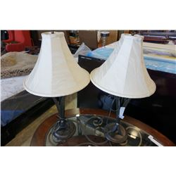 PAIR OF DECORATIVE METAL TABLE LAMPS