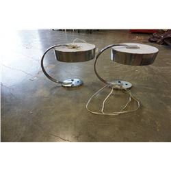 PAIR OF BRUSHED METAL TABLE LAMPS W/ OUTLETS