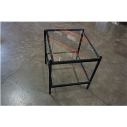 2-TIER BLACK AND METAL AND GLASS END TABLE
