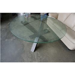 ROUND MODERN GLASS TOP DINING TABLE 4 1/2 FT