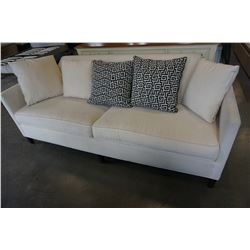 BOILER & COMPANY WHITE FABRIC COUCH W/ 5 ACCENT PILLOWS
