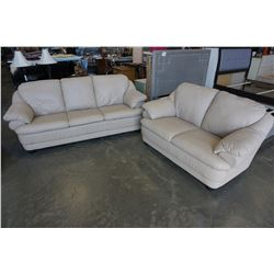 TAN LEATHER 3 SEATER COUCH & MATCHING LOVE SEAT