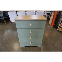 GREEN AND TAN 4 DRAWER DRESSER