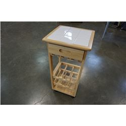WHITE TILE TOP AND MAPLE WINE TABLE